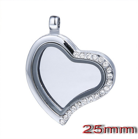 25mm love heart crystal locket floating pendant new design metal heart locket with diy charms