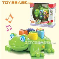 Kids plastic musical frog intelligent toy with light,sound