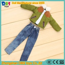 (YW-AC60127) Miniature winter clothes doll lamb coat doll jean trousers 10 inch