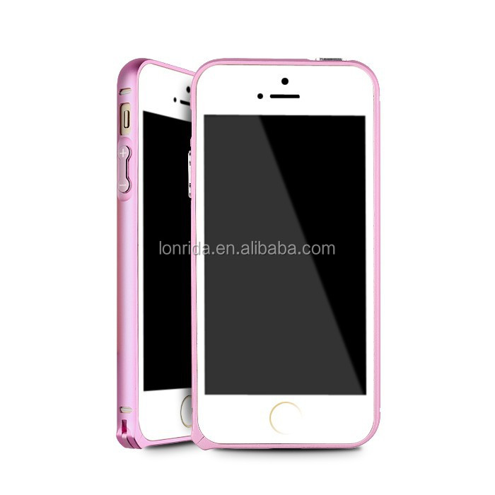 luxury good looking pink color custom aluminum clear plastic cell phone case for iPhone 5