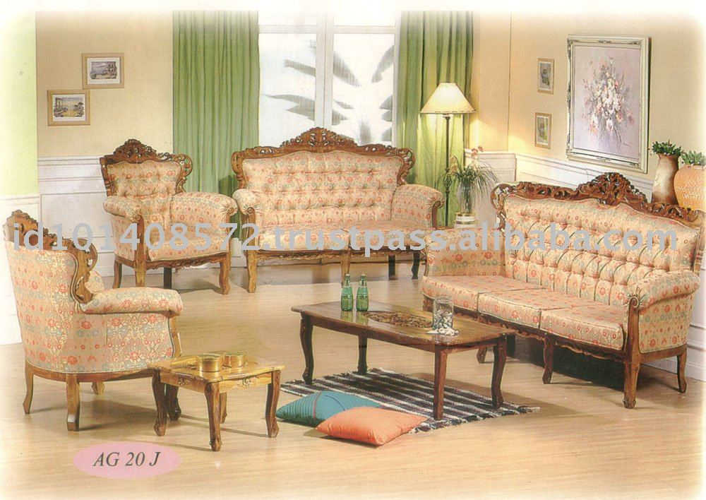 Teak Sofa Set Classic Design Romawi Bunga Pandan 2 Indoor Furniture.