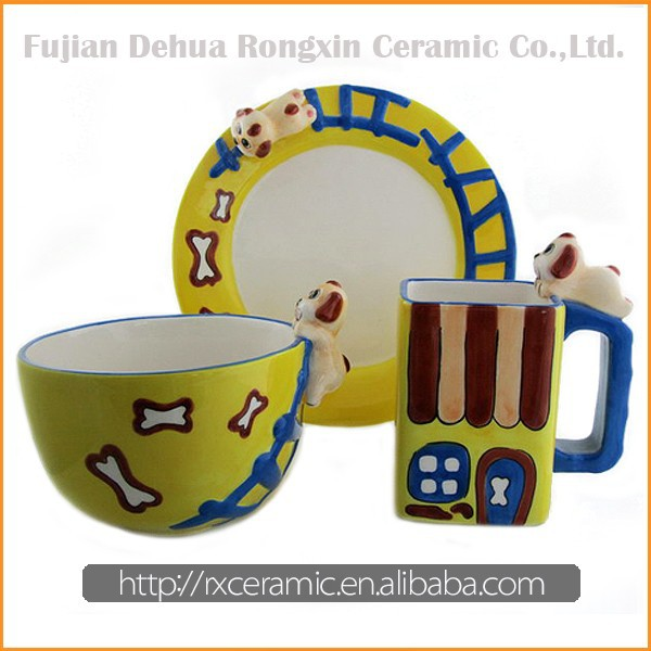 Colorful countryside design hand-painted ceramic dinner set dinnerware