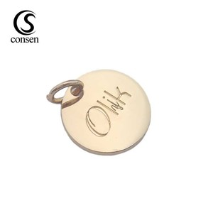 Custom made gold metal logo engraved jewelry tags pendant charms for garment