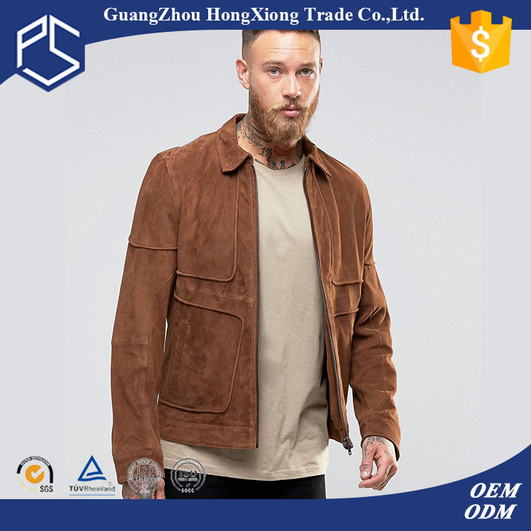 Guangzhou Hongxiong OEM Design Your Own Warm Cotton Zipper Front Side Pockets Lapel Neck Khaki Custom Men Italy Style Jacket