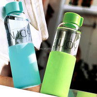 Portable Leak Proof Glass Water Bottle with Protective Silicone Sleeve