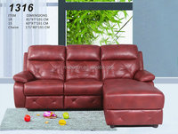 Stylish leather sofa,sectional sofa,coner sofa,red leather recliner sofa with chaise