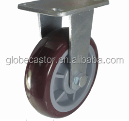 8 inch pu material red rigid type industrial caster,heavy duty castor wheel factory price of caster wheels wholesale