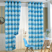 Block Sunlight and Ultraviolet Grommet Thermal Insulated Ocean Blue Pattern Ready Made Curtain