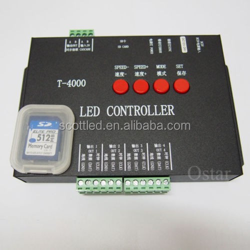 T4000 SD Card DMX512 LED PIXEL Controller For WS2801 LPD8806 WS2811 RGB