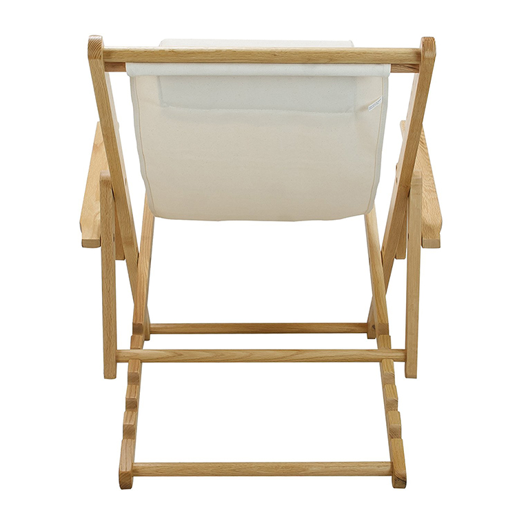 White dry fast fabric wooden frame foldable garden chair swimming pool chair