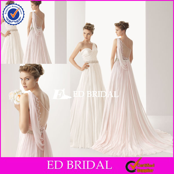 XL444 designer engagement one chiffon backless floor length sweep train spanish style wedding dresses