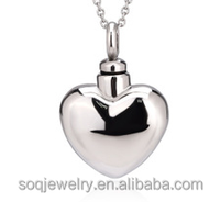 High polish 316 stainless steel heart bottle necklace pendants perfume pendant with screw headgear