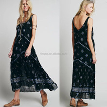NS1296 new fashion women sexy long maxi dress printed sundress