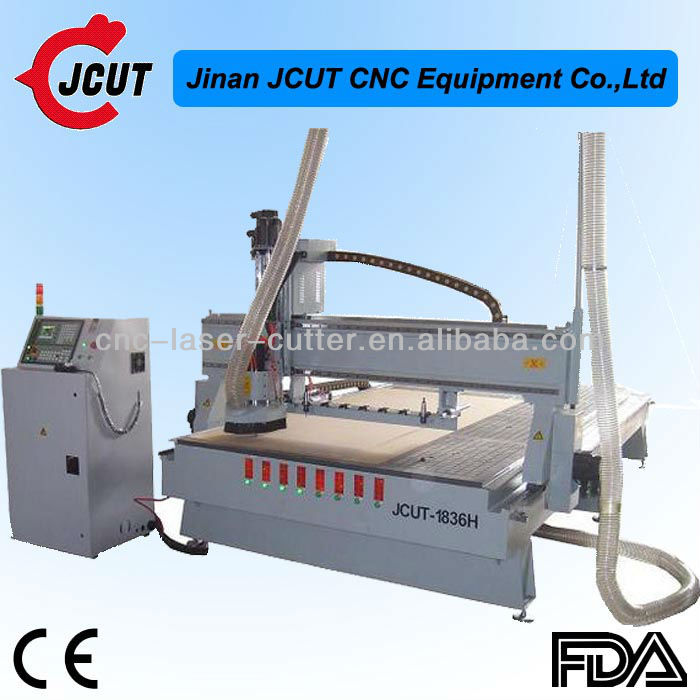 Steel Lathe Bed Automatic Tool Changing Function 8 Knives Stores Large Wood Cnc Engraving Machine JCUT-1836H