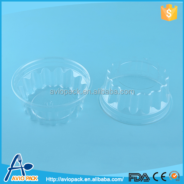 Hot selling clear round plastic one time use food container with lid