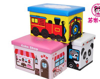 KIDS LARGE TOY STORAGE BOX PADDED SEAT STOOL CHEST FIRE ENGINE CAMPER VAN HAPPY BUS/FOLDABLE STORAGE CONTAINER/OTTOMAN