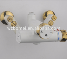 White Painting gold color Automatic temperature control bath shower water faucet