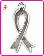 Hot Sale Zinc Alloy Grey Enamel Brain Cancer Awareness Ribbon Charms Wholesale