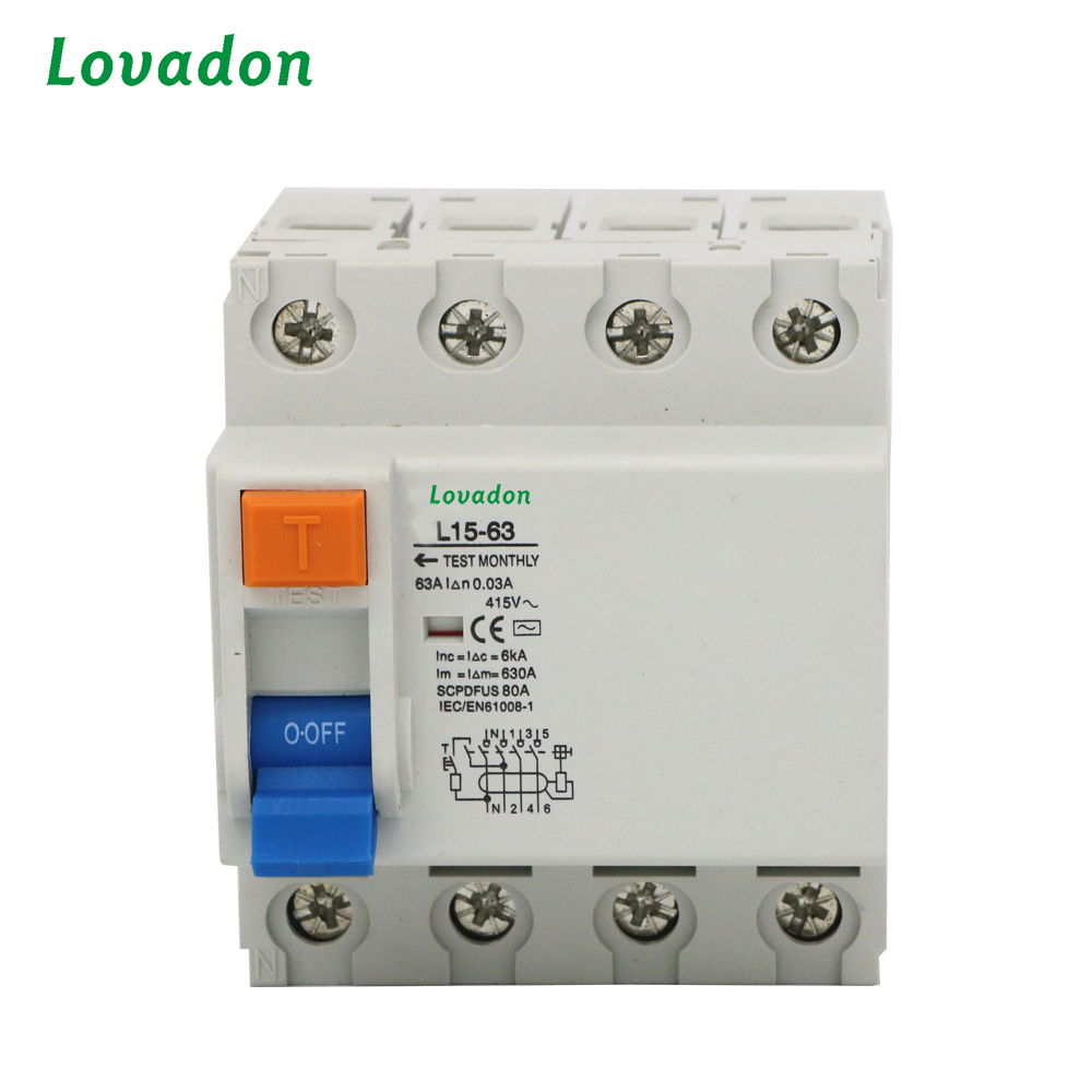 RCBO 4P 63A VL15-63 automatic Circuit Breaker Electronic Overload Residual Current Device Circuit Breaker