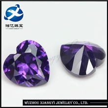 hot new products for 2017 / 10x10mm Violet heart shape nativa synthetic cz cubic zirconia gem for jewelry