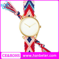 Beautiful cheap ribbon watch strap watch with small moq quantity watch manufacturer print logo