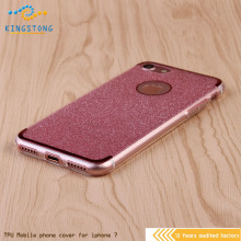 Thin Rubber Plating Glitter+Electroplating TPU Soft Mobile Phone Case For iPhone 7 7plus