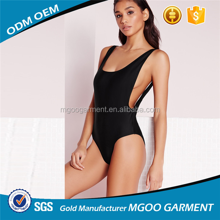Wholesale Blank High Leg Swimsuit Black Basic Design One Piece Swimwear Cut Out Bathing Suit