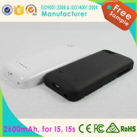 2000mAh Leather Flip Cover Backup Power Charger Battery Case For iPhone4/4S