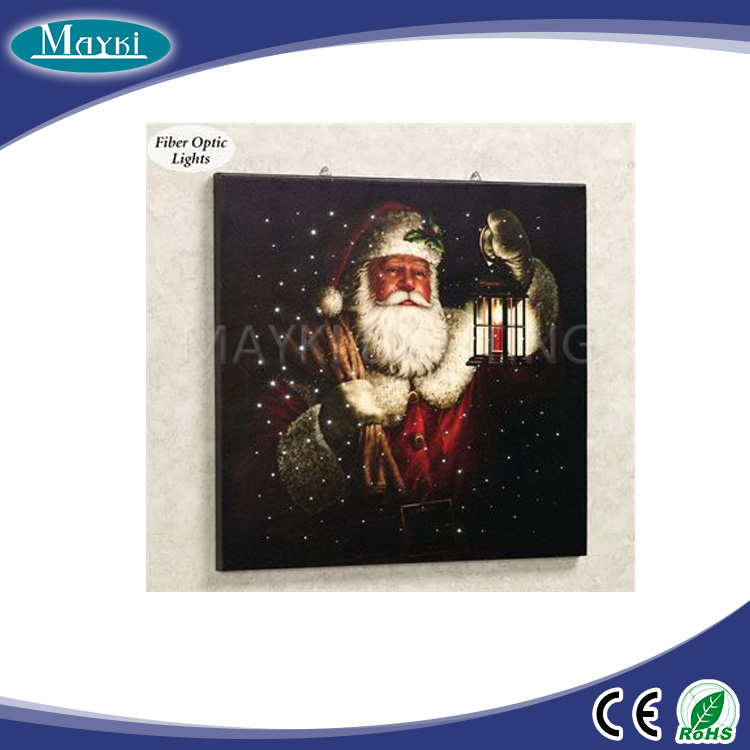 Santa Print Canvas Wall Art fiber optic lighted wall tapestry picture