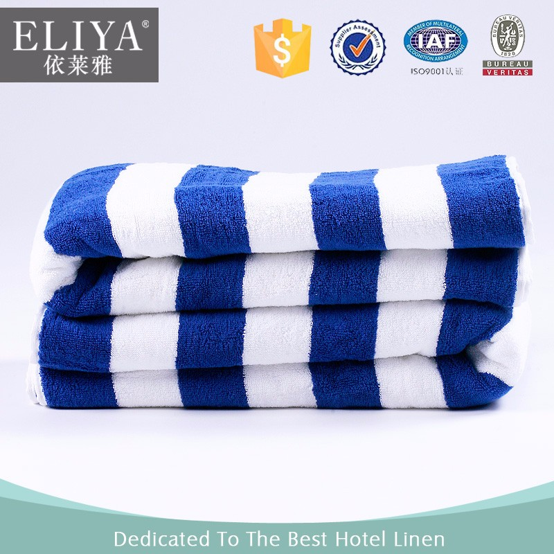 ELIYA good quality 100% cotton beach towels blue and white stripes