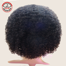 Golden Hair Curly Machine Make Afro Wigs