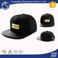 Cool black unisex plain black swag flat bill faux leather metal plate logo snapback cap