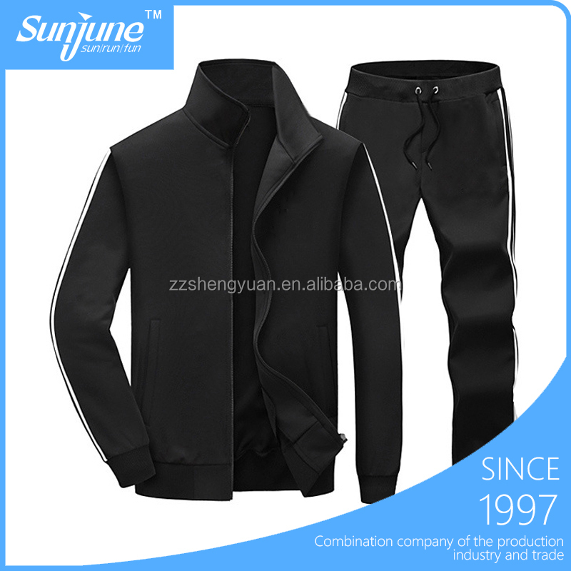Wholesale 2 pieces black coat pant men's track suit