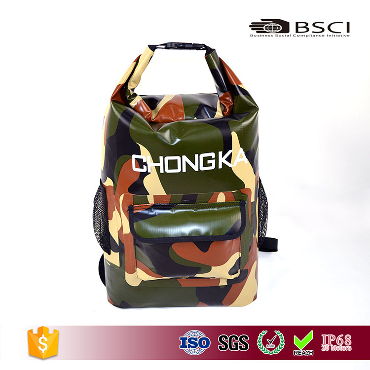 camouflage PVC Tarpaulin backpack Outdoor waterproof dry bag with zipper