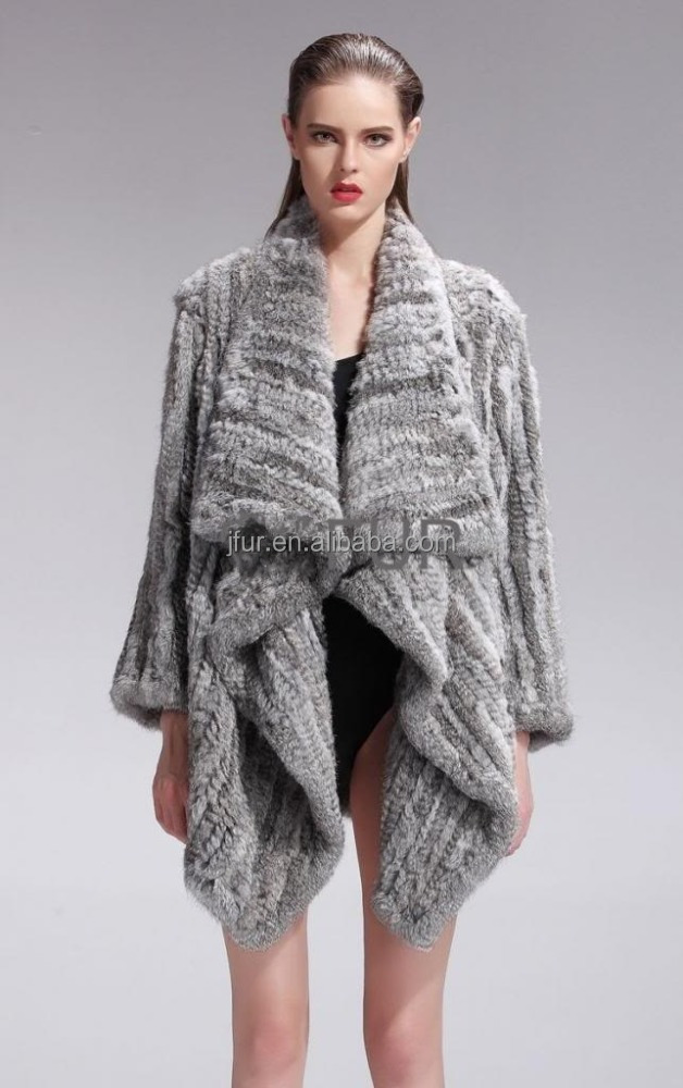 Top Quality Knitted Genuine Rabbit Fur Coat Australian /New Zealand Style