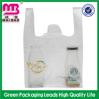 Biodegradable material reach ISO9001 standard polythene tshirt bags on roll for shopping