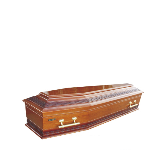 TD-E27 Wholesale Cheap Solid Wood Coffin with Oak Veneer