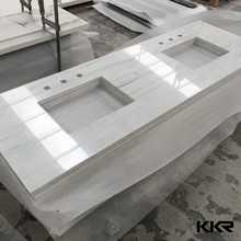 Customized Cut To Size Commercial One Piece Solid Surface Bathroom Sink Marble Quartz Countertop Vanity Top