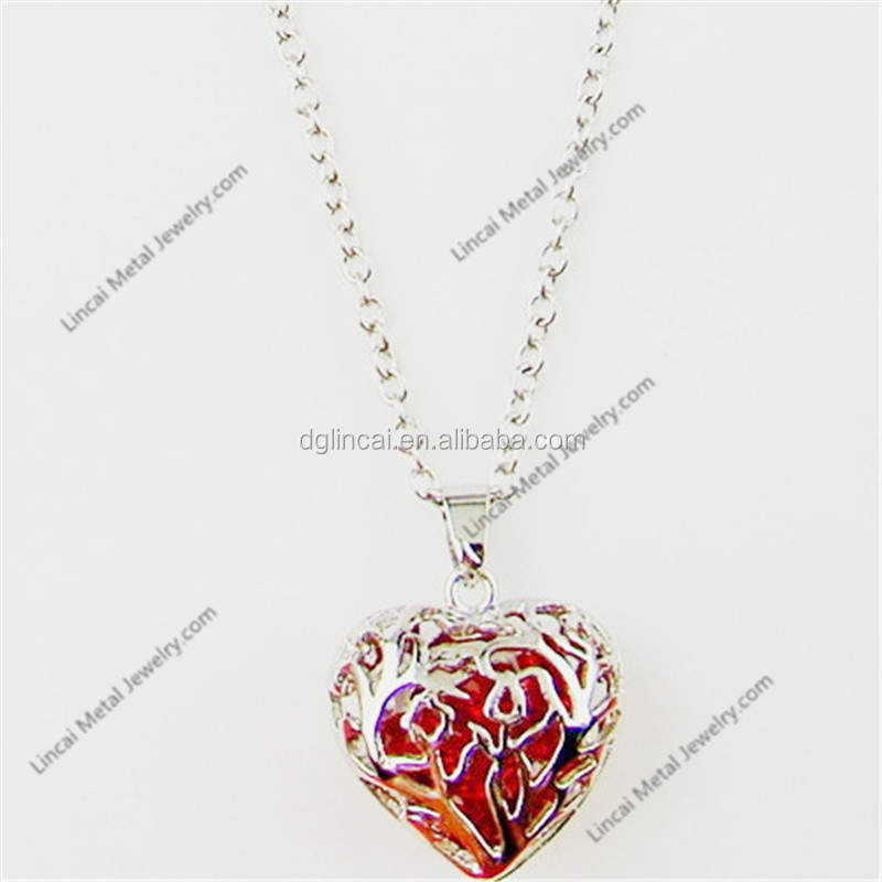 Alloy metal plain hollow aroma heart pendant necklace
