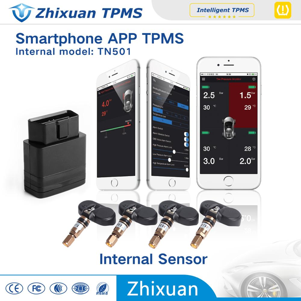 Bluetooth TPMS car phone wireless tire pressure monitoring system with 4 sensors car alarm system