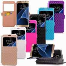 Gird Pattern Slim Card Case For Samsung S7 edge Folio Cover