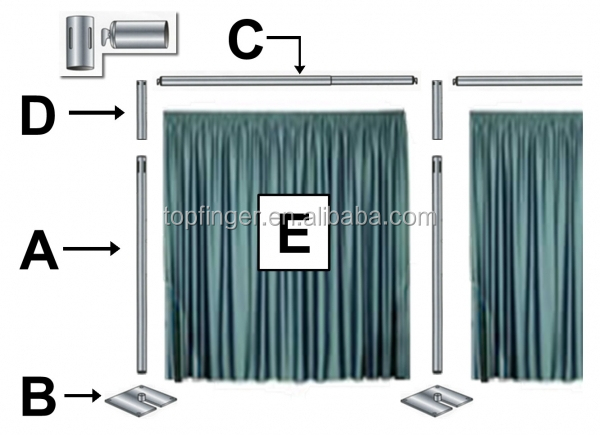tiffany blue fabric backdrop with adjustable crossbar Portable Trade Show pipe & drape