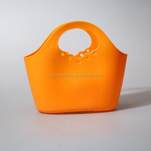 Flexible garden soft plastic basket with handle
