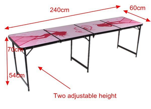 4 Sestions (2.4m 8') Pink lady folding outdoor table beer pong table