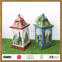 seasonal deer and tree christmas outdoor candle lantern