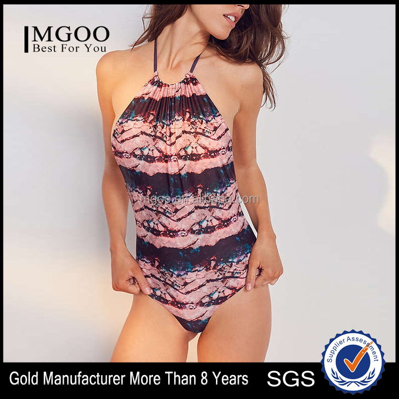 MGOO Beach Tie-Dye One-Piece Swimsuit With Cinched Halter Tie Women Swimming Clothes Swimwear 2017