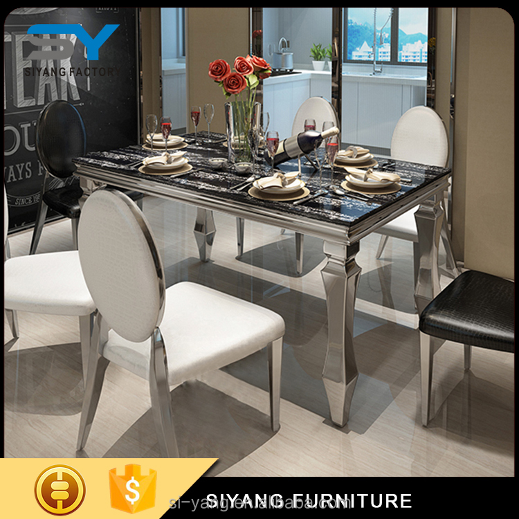 marble top stainless steel dining <strong>table</strong> and chair for sale size 150*90 CT004