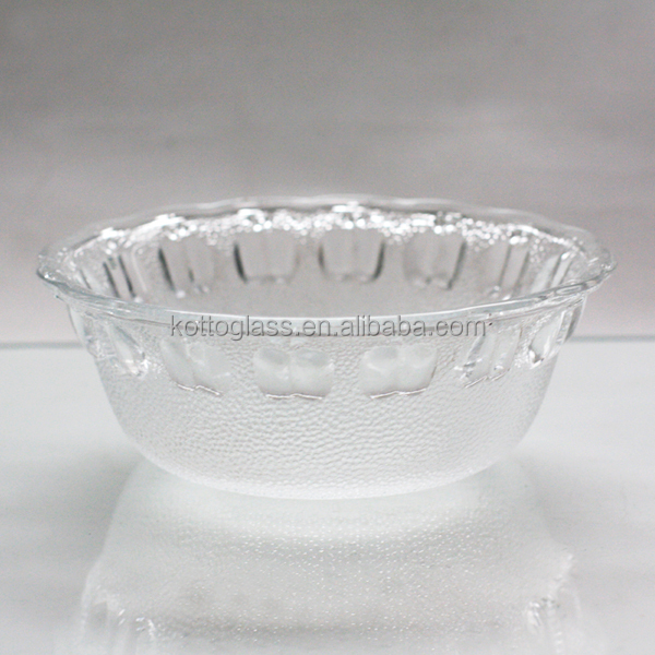 "136mm 5"" 5inch clear round glass salad bowl apple design"
