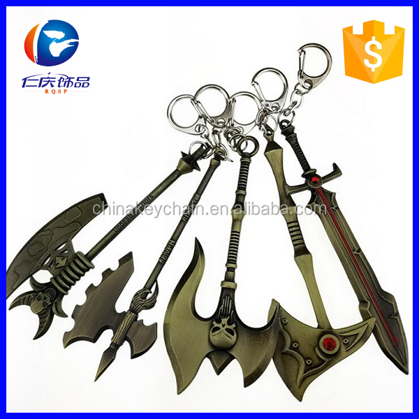 Custom mini WOW / LOL game weapon metal keychain
