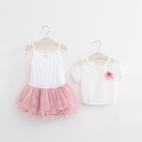 Kids set baby summer wear Short sleeve smocked dress set Children clothing suit t shirt+dress girls apparel suit ali209